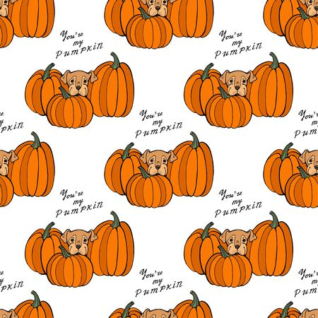Halloween holiday surface pattern with cute cartoon dogs and pumpkins. Hand drawn illustration