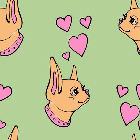 Little chihuahua dog pattern vector illustration. Seamless background. Imagens