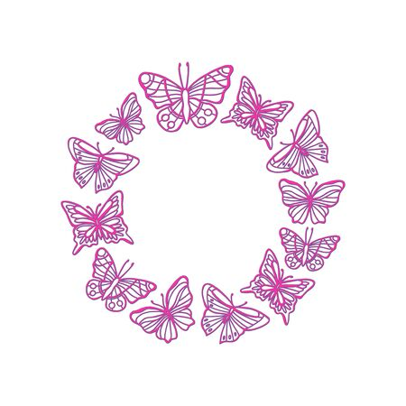 Background with neon butterfly wreath. Bright glowing shiny butterfly frame on black background.