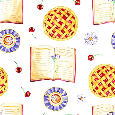 Seamless pattern with fragrant cherry pie and berries. Watercolor illustration. Stock Photo
