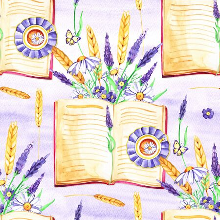 Gentle watercolor floral lavender seamless. Hand painting. Watercolor. Seamless pattern for fabric, paper and other printing and web projects. Stock fotó - 133403135