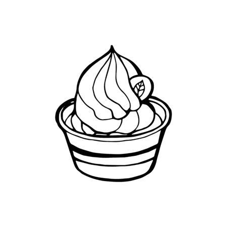 Creamy green matcha ice cream soft serve in glass, hand draw sketch vector.