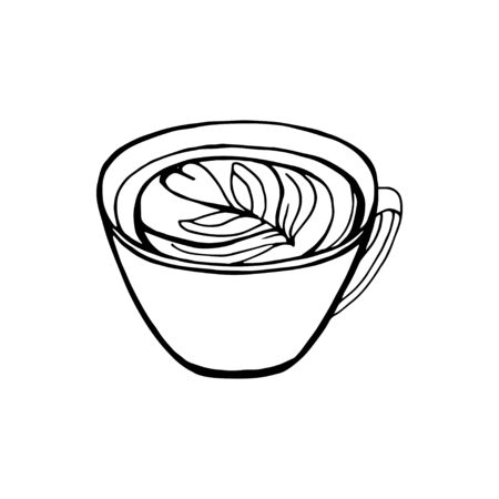 Aroma cup icon. Coffee, tea, beverage symbol. Restaurant, coffee shop, bar, caffee element. Latte, cappuchino, tea, matcha symbol. Hot cup with aroma drink sign. Hand draw design. Vector Illustration