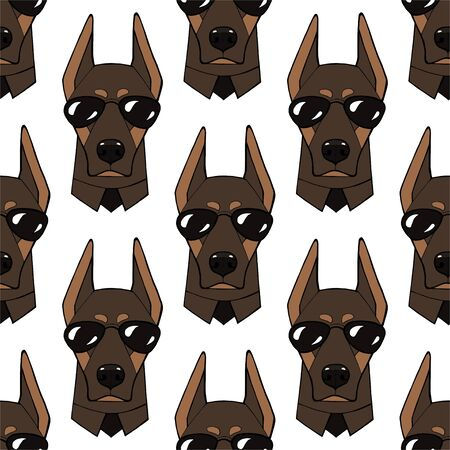 Seamless pattern with image of a character dog portraits. Vector illustration.