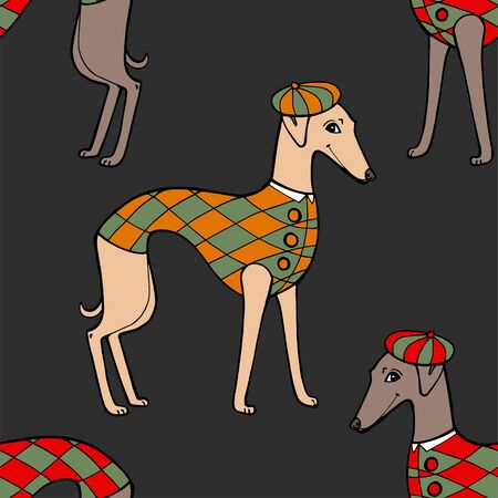 Seamless pattern with dogs with coats, vector illustration.