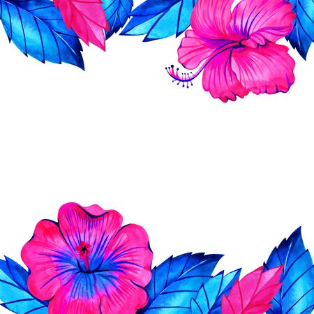 Pink neon hibiscus flower frame for bridal shower invitation. Watercolor illustration. Imagens