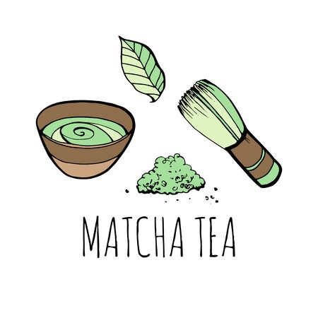 Matcha tea set. Objects isolated. Vector hand drawn illustration.