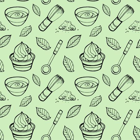Seamless pattern with matcha elements. Japanese ethnic and national tea ceremony. Hand drawn vector illustration. Can be used for shop, market, fabric, wrapping paper, scrapbooking. Ilustração