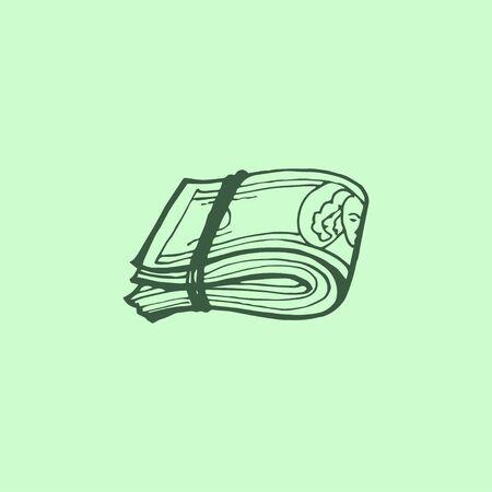 Some Doodles on Money Theme. Vector hand draw illustration. Ilustração