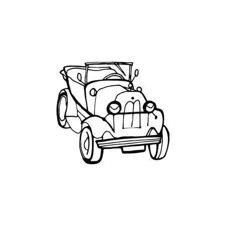 Engraving vintage hand drawn vector retro car. Pen Sketch wheeled transport illustration.