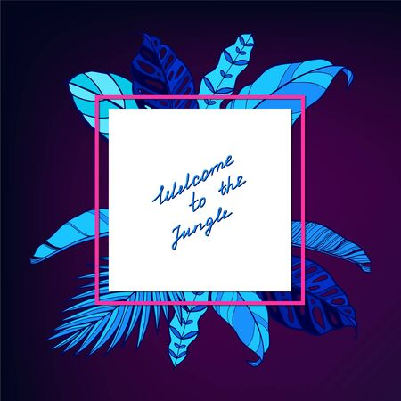 Neon jungle tropic background. Watercolor frame. Perfect for greeting cards, wedding invitations, packaging design and decorations. Imagens