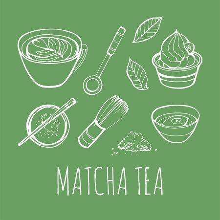 Matcha tea set. Objects isolated. Vector hand drawn illustration