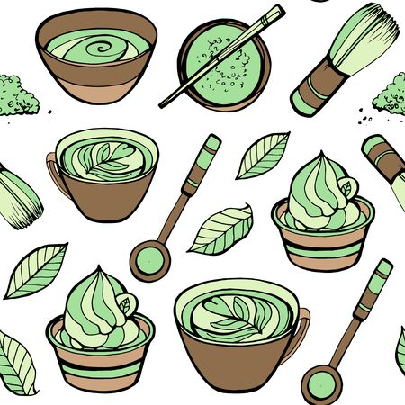 Seamless pattern with matcha elements. Japanese ethnic and national tea ceremony. Hand drawn vector illustration. Can be used for shop, market, fabric, wrapping paper, scrapbooking Ilustração