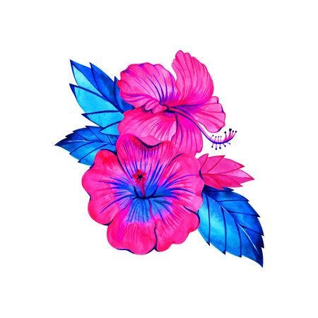 Watercolor colorful hibiscus. Watercolor boho print for wedding card, invitation, poster, wrapping, wallpaper