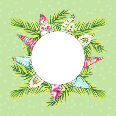 Christmas illustration with christmas toys. Christmas decoration. Hand drawn marker illustration sketch on white background Stockfoto