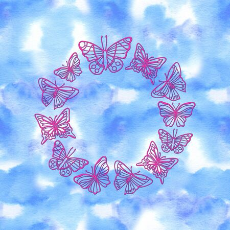 Background with neon butterfly wreath. Bright glowing shiny butterfly frame on black background