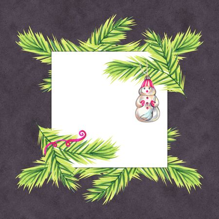 Christmas wreath with toys on the Christmas tree on a gray background. Marker sketch illustration