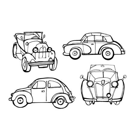 Set of Retro Cars. Transport Collection in Hand Drawn Style for Surface Design Banner Fliers Web. Vector Illustration