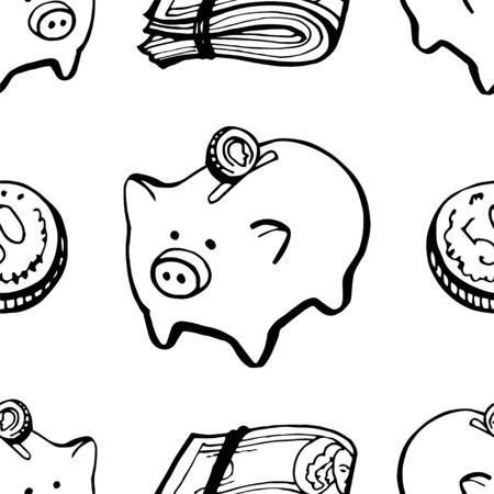 Doodle hand draw pig money bank holding seamless pattern background. Ilustração