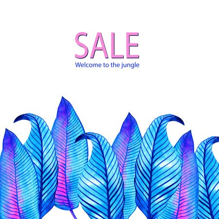 Neon jungle tropic background. Watercolor frame. Perfect for greeting cards, wedding invitations, packaging design and decorations. Stockfoto