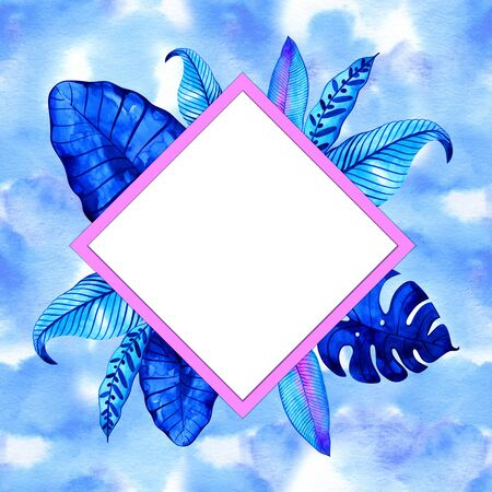 Neon jungle tropic background. Watercolor frame. Perfect for greeting cards, wedding invitations, packaging design and decorations