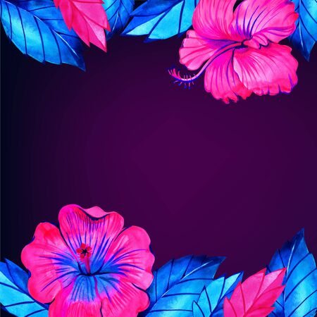 Neon jungle card template. Bright tropical leaves, flowers, butterfly collection Stockfoto
