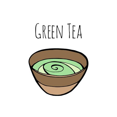 Matcha green tea hand drawn engraving illustration. Healthy drink ingredient for japanese, chinese tea ceremony.