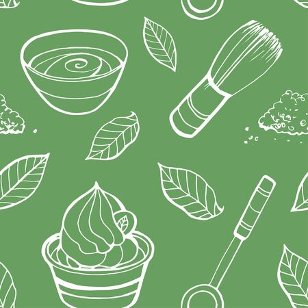 Seamless pattern with matcha elements. Japanese ethnic and national tea ceremony. Hand drawn vector illustration. Can be used for shop, market, fabric, wrapping paper, scrapbooking. Stock Illustratie