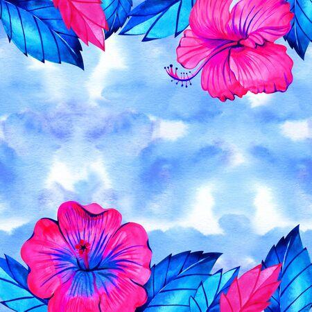 Pink neon hibiscus flower frame for bridal shower invitation. Watercolor illustration