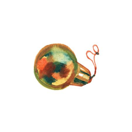 Golden watercolor painted Christmas ball. Christmas card with gold ball