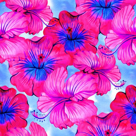 Hibiscus. Seamless exotic pattern with tropical leaves and flowers on a white background. Watercolor illustration