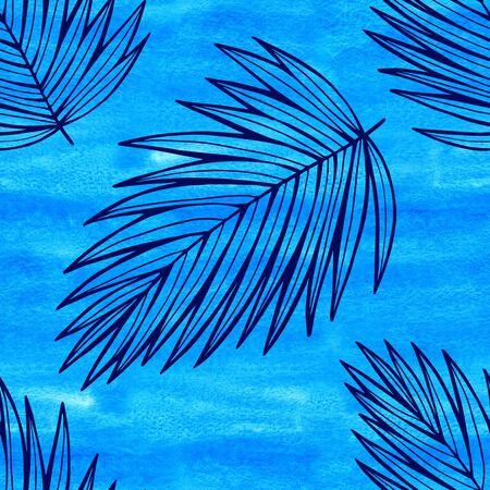 Seamless watercolor tropic leaves pattern. Colorful leaves in a spacious allover composition. beautiful impressionist illustration of palm leaves. Perfect for greetings, invitations, manufacture wrapping paper, textile, web design