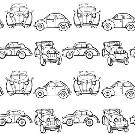 Vector seamless pattern with hand drawn vintage cars made in textured way. Beautiful design elements, perfect for nursery