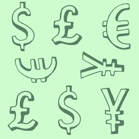 Abstract seamless pattern with money. Vector hand draw illustration