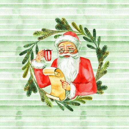 Watercolor santa clause in the wreath.