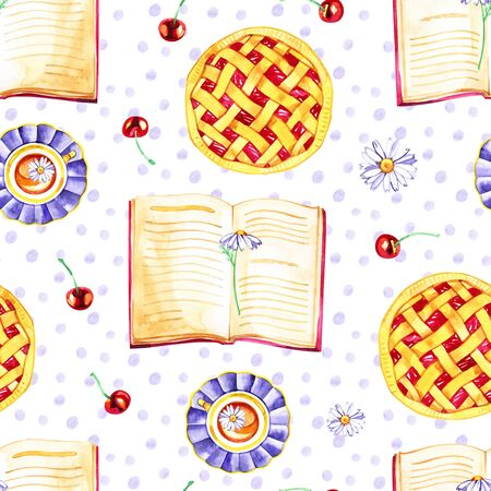 Watercolor seamless pattern with cherries