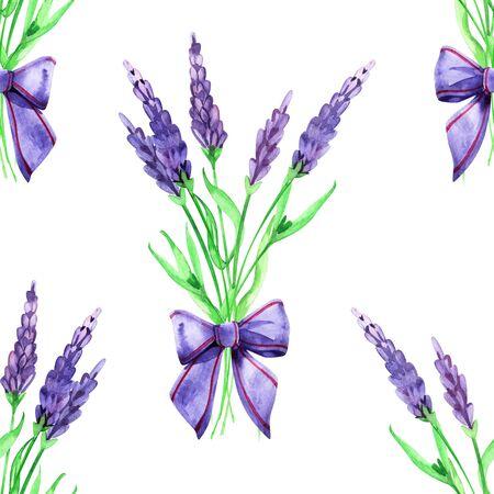 Gentle watercolor floral lavender seamless.