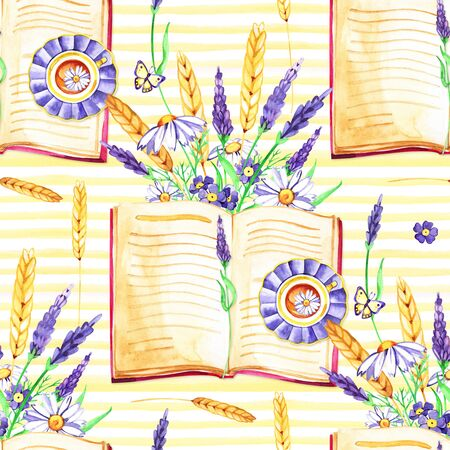Flowers Pansies, lavender, botany and books.