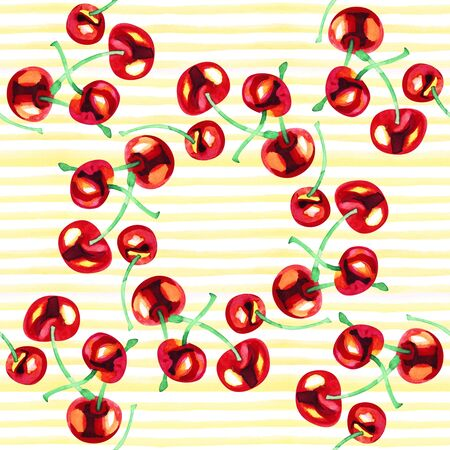 Watercolor summer seamless pattern with red cherry berry.