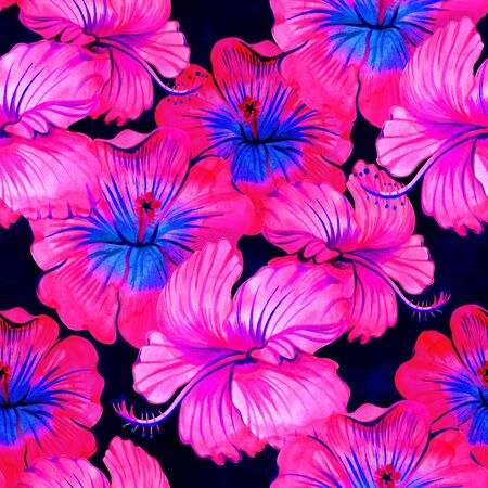 Seamless hibiscus summer fashion floral pattern. Tropical flowers and exotic leaves.