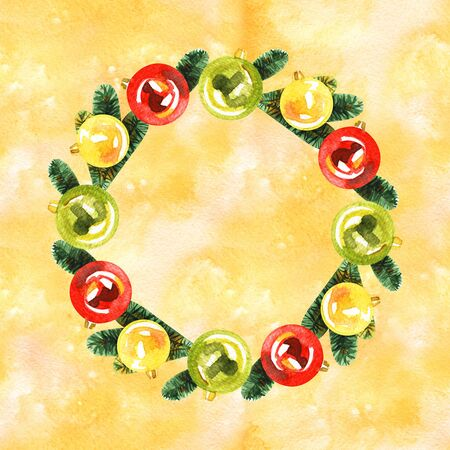 Watercolor Christmas wreath with decorations.