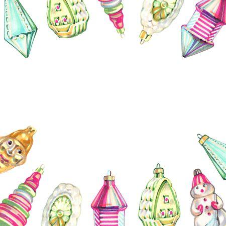 Christmas New year holidays marker hand drawn  with xmas wreath. Banco de Imagens - 140705493