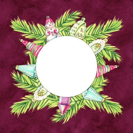Christmas New year holidays marker hand drawn  with xmas wreath. Banco de Imagens