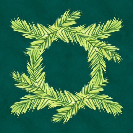 Christmas Hand drawn wreath in green Banco de Imagens