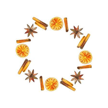 Christmas wreath with oranges, cinnamon round frame, holiday Christmas.