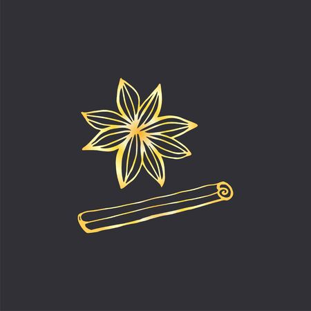 Star anise hand draw vector.