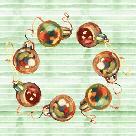 Golden Christmas balls frame wreath for your design a greeting card or invitation for a party