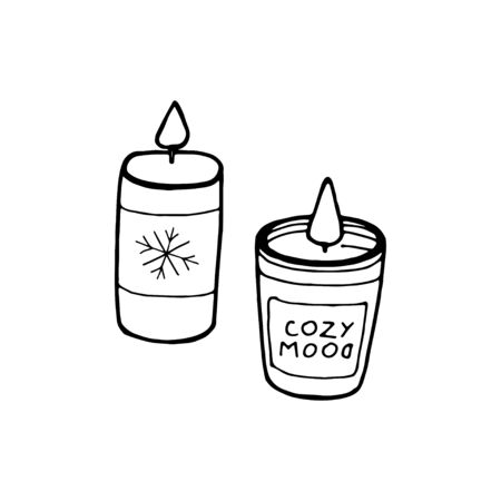 Hand drawn candle  Isolated on white 写真素材