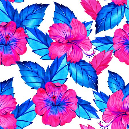 Hibiscus Seamless exotic pattern with tropical leaves and flowers on a white