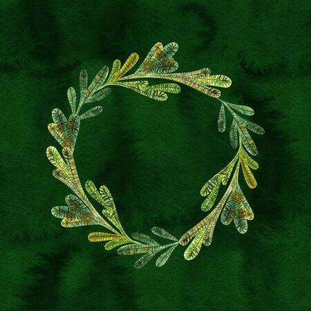 Christmas green frame hand drawn